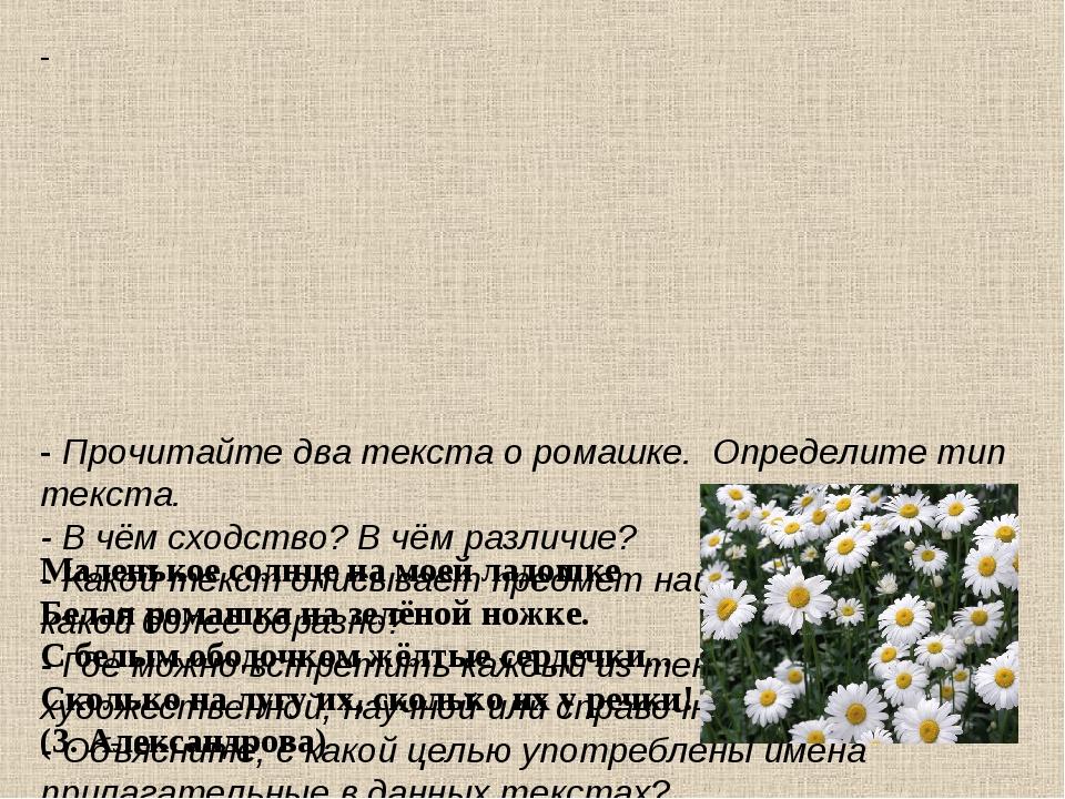 - - Прочитайте два текста о ромашке. Определите тип текста. - В чём сходство?...
