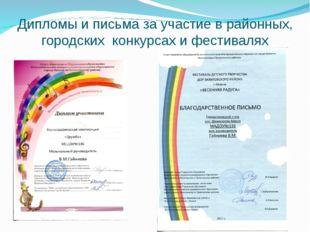 Дипломы и письма за участие в районных, городских конкурсах и фестивалях