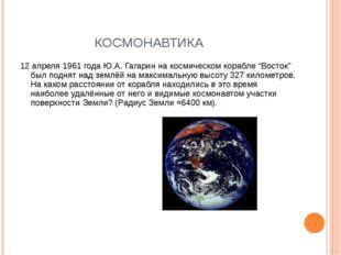 """КОСМОНАВТИКА 12 апреля 1961 года Ю.А. Гагарин на космическом корабле """"Восток"""