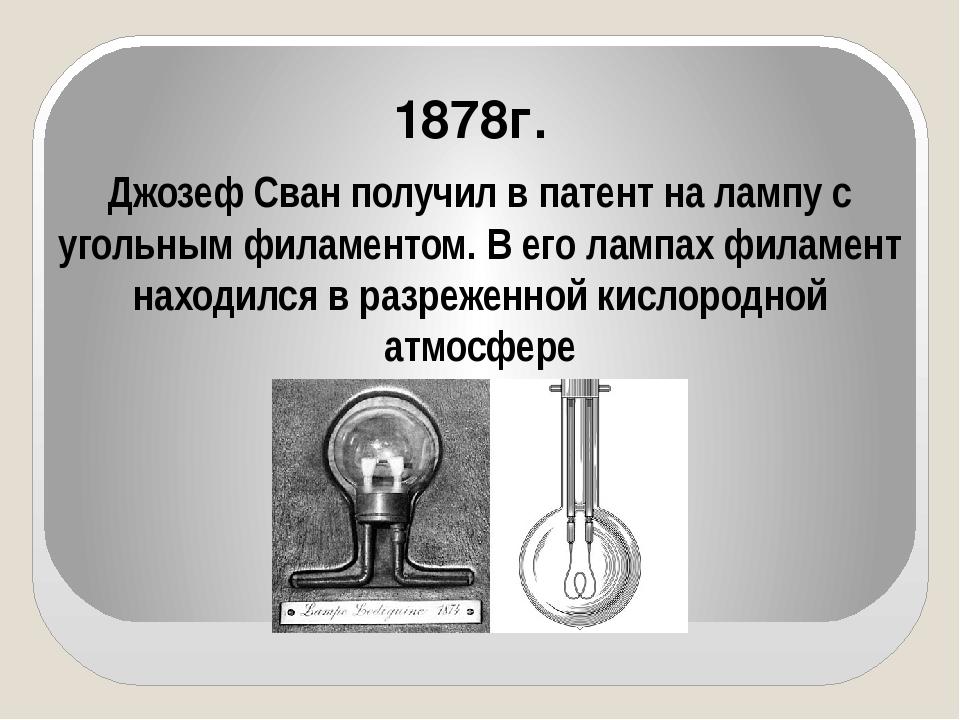 Джозеф Сван получил в патент на лампу с угольным филаментом. В его лампах фи...