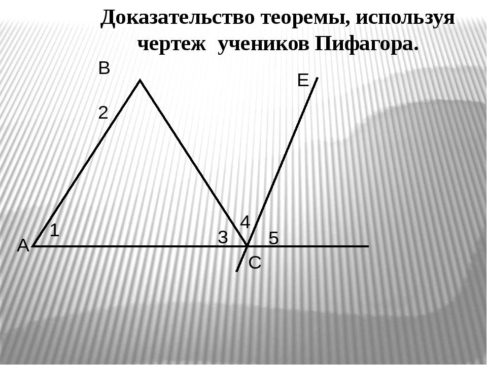 Доказательство теоремы, используя чертеж учеников Пифагора. A B C E 1 2 3 4 5
