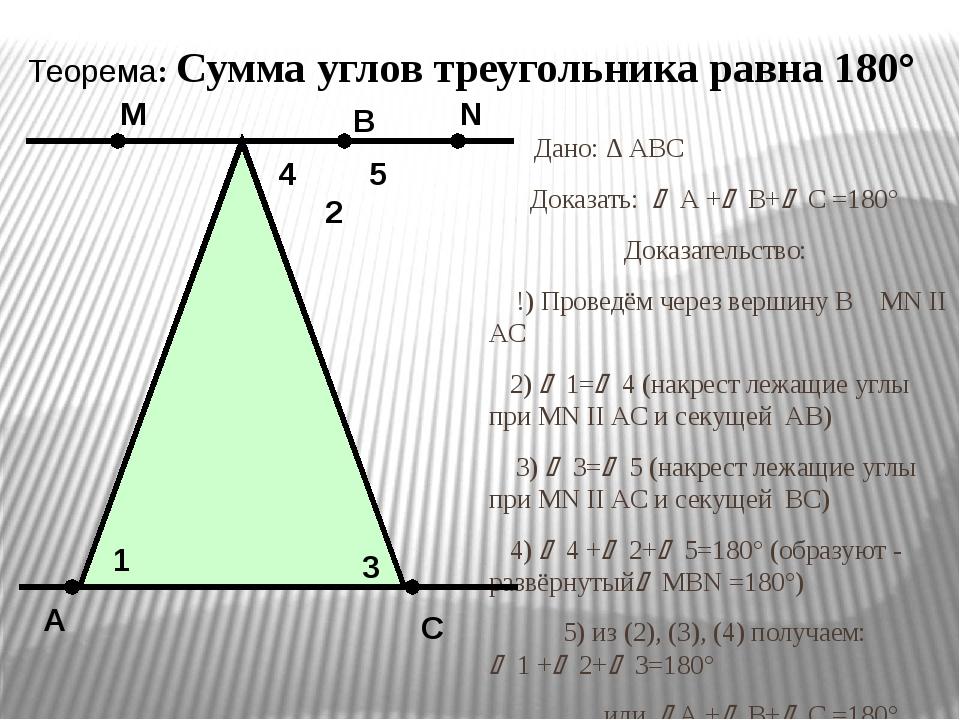Дано: ∆ АВС Доказать:  А + В+ С =180° Доказательство: !) Проведём через в...