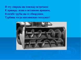 И эту спираль мы повсюду встречаем: К примеру, ножи в механизме вращаем, В из