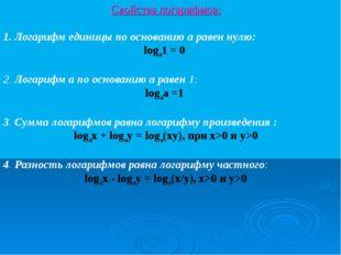 Свойства логарифмов: 1. Логарифм единицы по основанию а равен нулю: loga1 = 0