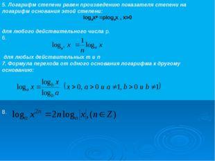 5. Логарифм степени равен произведению показателя степени на логарифм основан