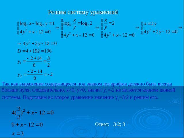 Решим систему уравнений Так как выражение содержащееся под знаком логарифма д...