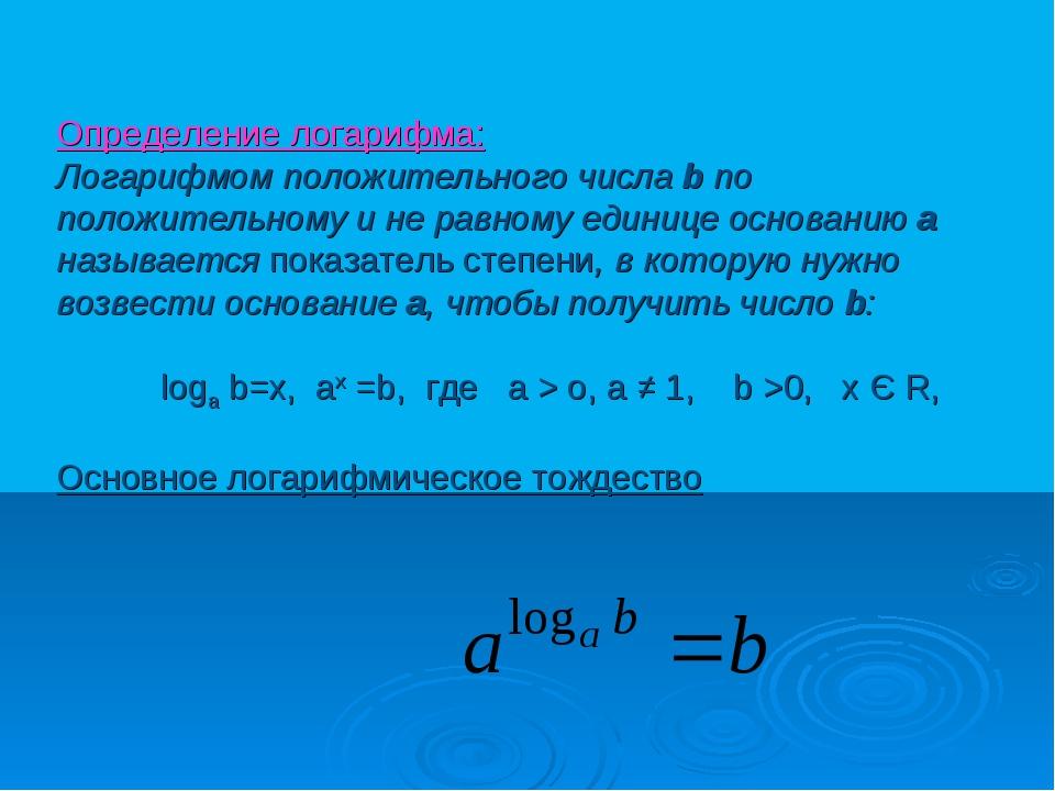 Определение логарифма: Логарифмом положительного числа b по положительному и...