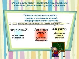 Основной результат – развитие личности ребенка на основе универсальных учебны