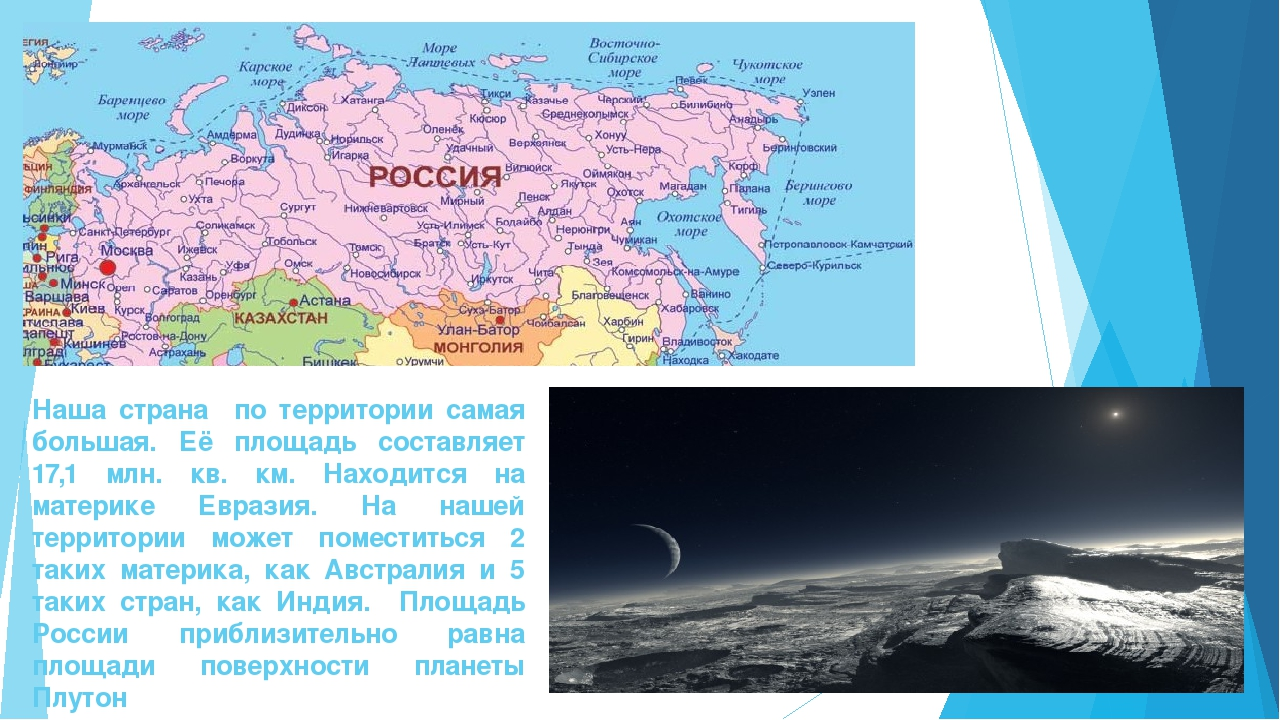 Наша страна по территории самая большая. Её площадь составляет 17,1 млн. кв....