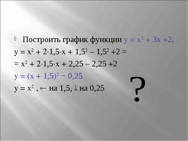 Построить график функции y = x2 + 3x +2. y = x2 + 2∙1,5∙x + 1,52 – 1,52 +2 =...
