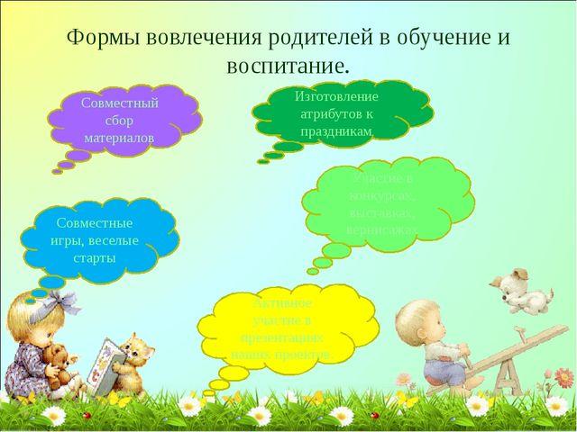Формы вовлечения родителей в обучение и воспитание. Совместный сбор материало...