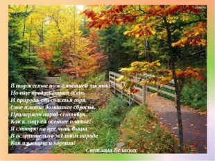 В торжестве пожелтевшей листвы. Но еще предзакатная осень И природа, от счаст