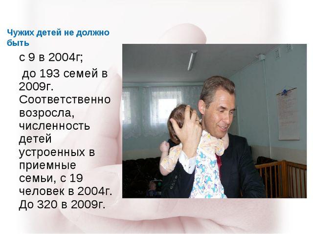Чужих детей не должно быть с 9 в 2004г; до 193 семей в 2009г. Соответственно...
