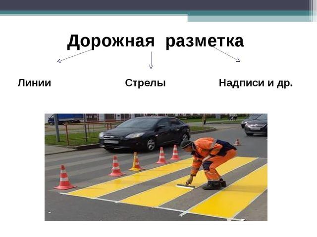 Дорожная разметка Линии Стрелы Надписи и др.