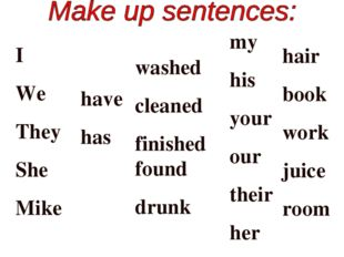 I We They She Mike have has washed cleaned finished found drunk my his your o