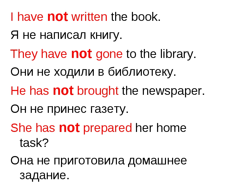 I have not written the book. Я не написал книгу. They have not gone to the li...