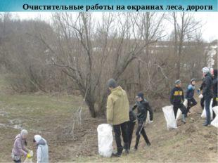 Очистительные работы на окраинах леса, дороги