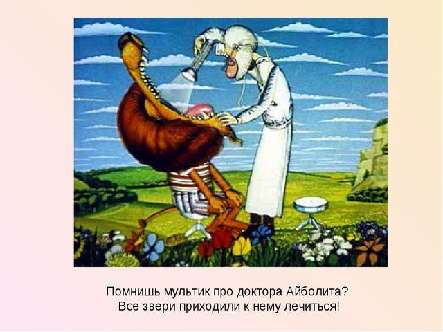 Помнишь мультик про доктора Айболита? Все звери приходили к нему лечиться!