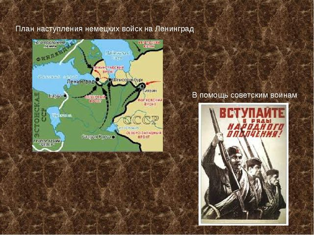 План наступления немецких войск на Ленинград В помощь советским воинам
