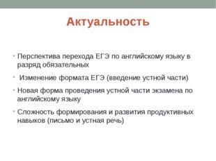 Актуальность Перспектива перехода ЕГЭ по английскому языку в разряд обязатель