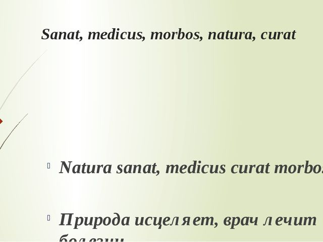 Sanat, medicus, morbos, natura, curat Natura sanat, medicus curat morbos. При...