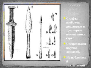 Скифы изобрелы двухперые и трехперые наконечники стрел. Специальная выучка ло