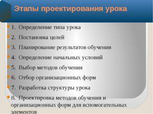 1.Определение типа урока 2.Постановка целей 3.Планирование результатов обу