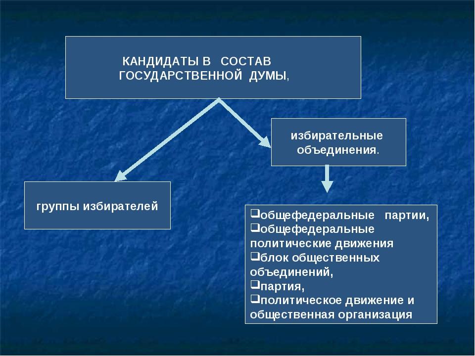 КАНДИДАТЫ В СОСТАВ ГОСУДАРСТВЕННОЙ ДУМЫ, группы избирателей избирательные об...