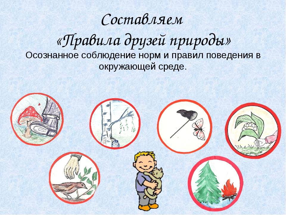 Составляем «Правила друзей природы» Осознанное соблюдение норм и правил повед...