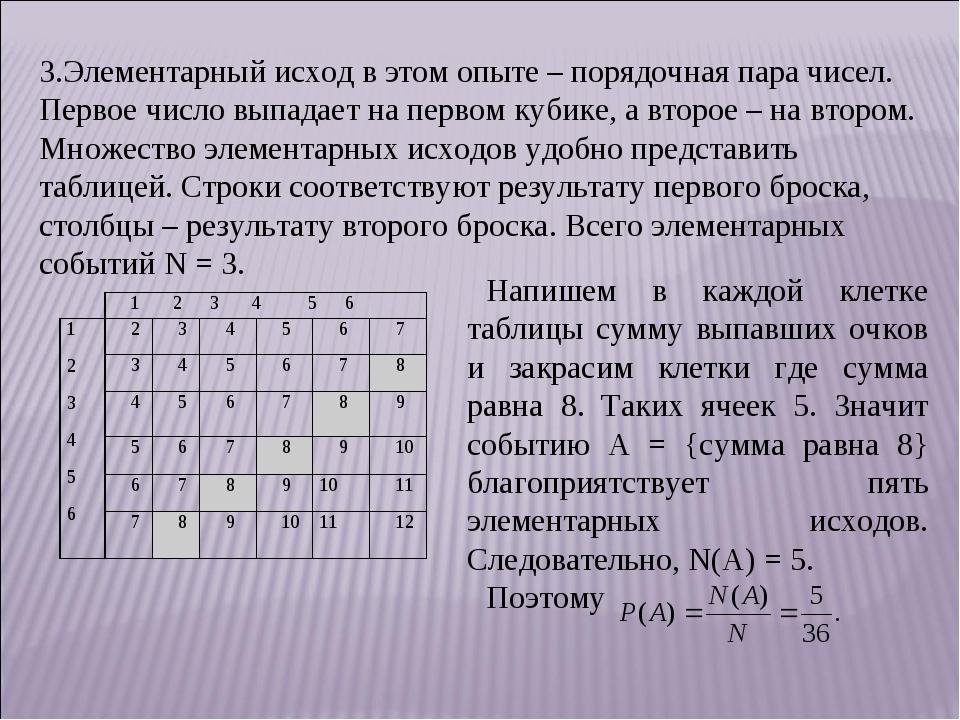 3.Элементарный исход в этом опыте – порядочная пара чисел. Первое число выпад...