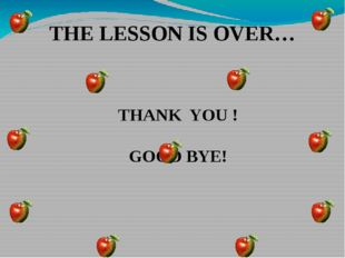 THE LESSON IS OVER… THANK YOU ! GOOD BYE!