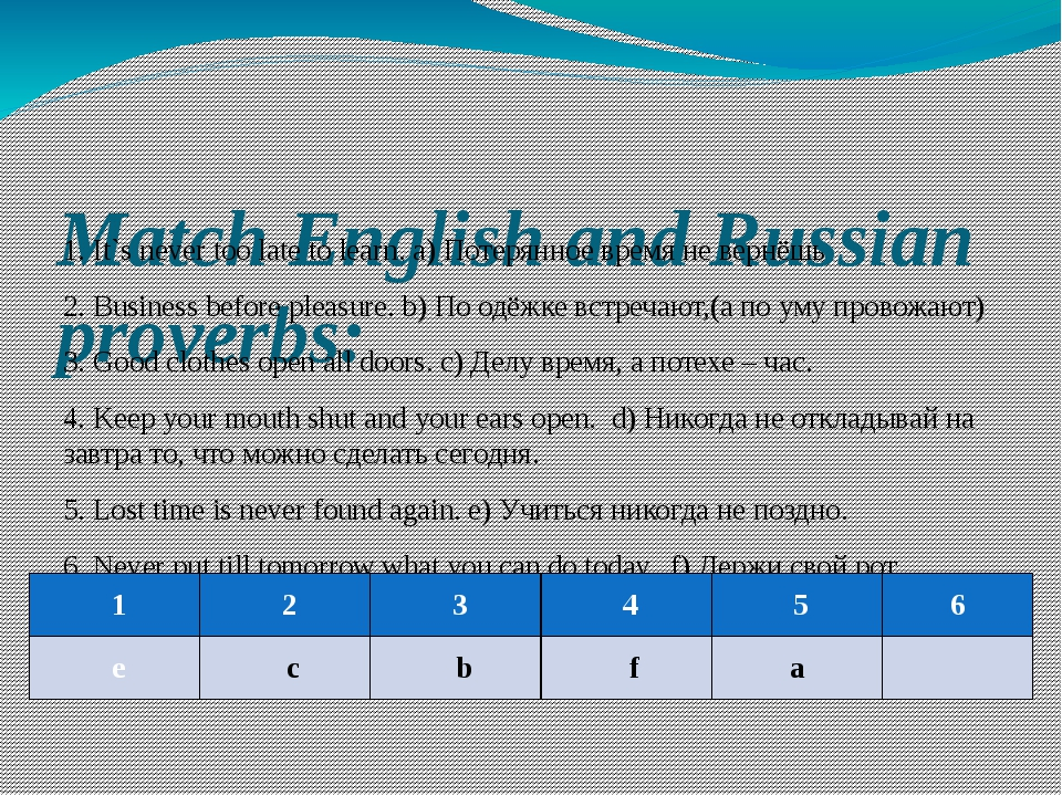 Match English and Russian proverbs: 1. It`s never too late to learn. a) Потер...