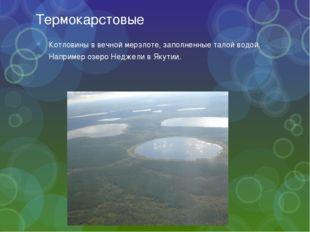 Термокарстовые Котловины в вечной мерзлоте, заполненные талой водой. Например
