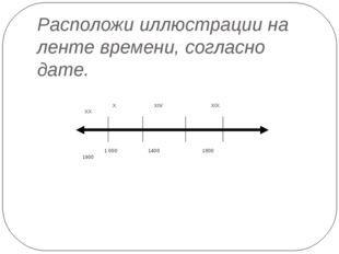 Расположи иллюстрации на ленте времени, согласно дате. X XIV XIX XX 1000 140