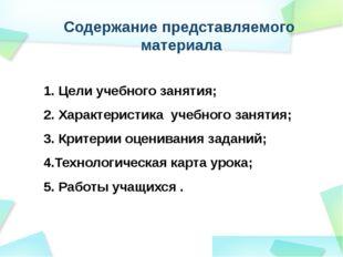 Содержание представляемого материала 1. Цели учебного занятия; 2. Характерист
