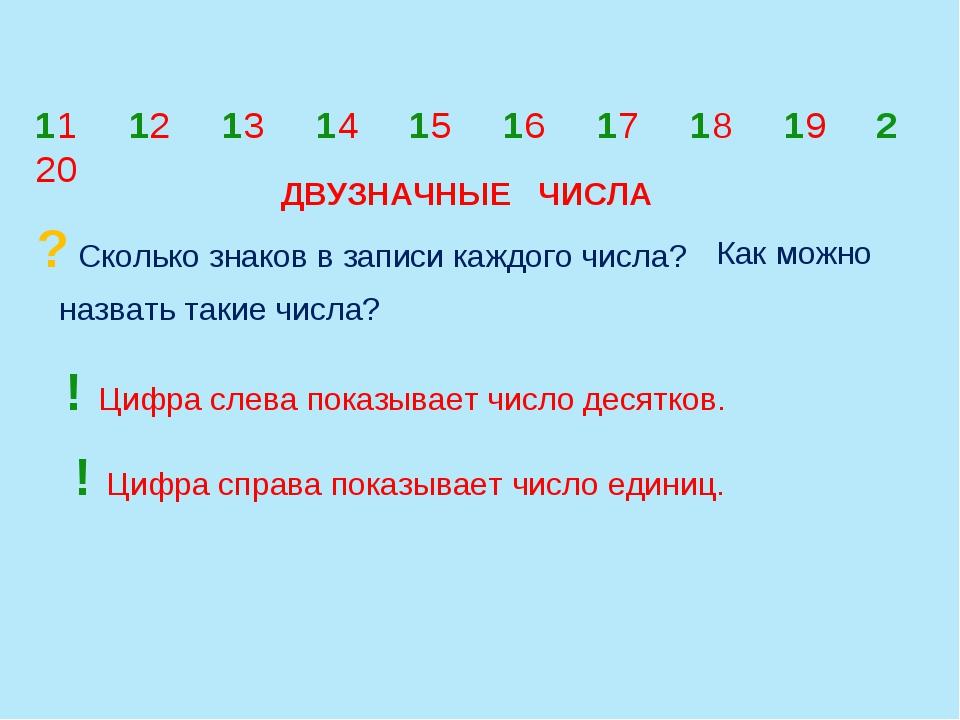 ? Сколько знаков в записи каждого числа? назвать такие числа? 11 12 13 14 15...
