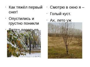 Как тяжёл первый снег! Опустились и грустно поникли Ветви деревьев. Смотр