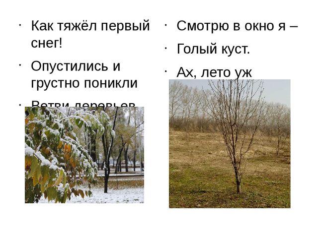 Как тяжёл первый снег! Опустились и грустно поникли Ветви деревьев. Смотр...
