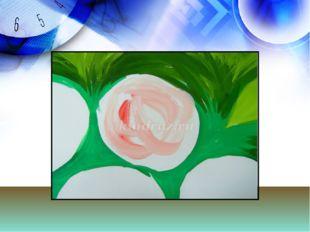 Теперь цветы-сначала окрашиваем один цветок в белый цвет, на кисть набираем
