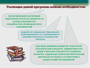 Реализация данной программы вызвана необходимостью: проектирования воспитания
