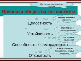 Признаки общества как системы Целое, составленное из частей Целостность Устой