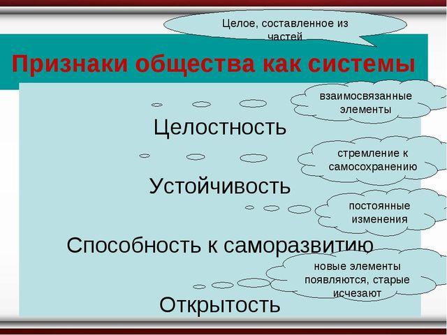 Признаки общества как системы Целое, составленное из частей Целостность Устой...