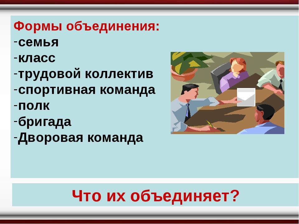 Формы объединения: семья класс трудовой коллектив спортивная команда полк бри...
