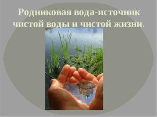 Родниковая вода-источник чистой воды и чистой жизни.
