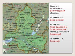 Граничит: на востоке— с Волгоградской областью, на севере— с Воронежской, н