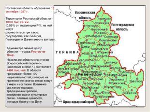 Ростовская область образована 13 сентября 1937 г. Территория Ростовской облас