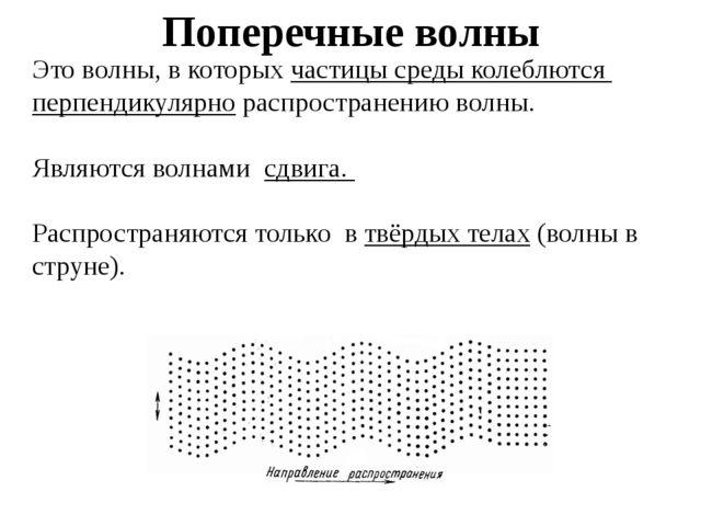 Поперечные волны Это волны, в которых частицы среды колеблются перпендикулярн...