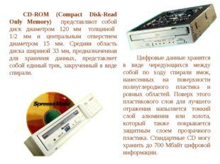 CD-ROM (Compact Disk-Read Only Memory) представляют собой диск диаметром 12