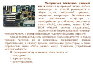 тактовой частоты и слоты (разъемы) для подключения других устройств.  Общая