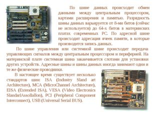 По шине данных происходит обмен данными между центральным процессором, кар